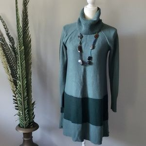 Soft Surroundings green color block sweater tunic